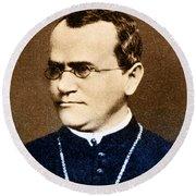 Gregor Mendel, Father Of Genetics Round Beach Towel