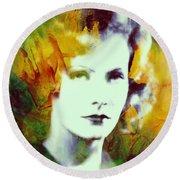 Greta Garbo Abstract Pop Art Round Beach Towel