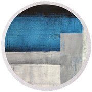 Straight Forward - Teal And Grey Abstract Art Painting Round Beach Towel