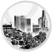 Griffith And Los Angeles Etched Round Beach Towel