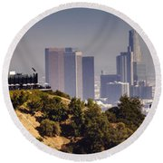 Griffith And Los Angeles Round Beach Towel