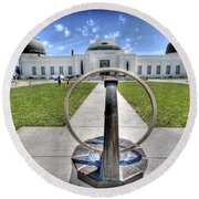 Griffith Observatory 1 Round Beach Towel