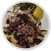 Griiled Fresh Greek Octopus Round Beach Towel by David Smith