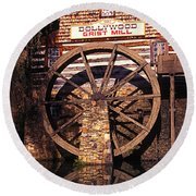 Grist Mill In The Smokies Round Beach Towel