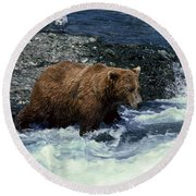Grizzly Bear Fishing Round Beach Towel