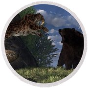 Grizzly Vs. Saber-tooth Round Beach Towel
