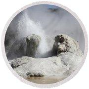 Grotto Geyser Eruption, Upper Geyser Round Beach Towel