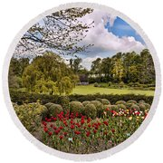 Grounds At Leeds Castle  Round Beach Towel