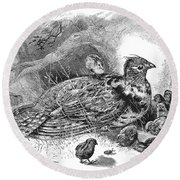 Grouse And Young Round Beach Towel