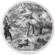 Grouse Hunting, 1855 Round Beach Towel