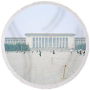 Grteat Hall Of The People In Beijing In China Round Beach Towel