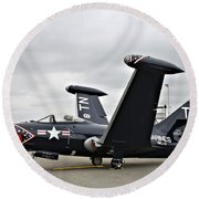 Grumman F9f-5p Panther Round Beach Towel