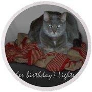 Grumpy Cat Birthday Card Round Beach Towel