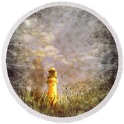 Grunge Light House Round Beach Towel