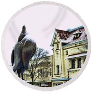 Guard Pigeon And Liberty Theater Round Beach Towel
