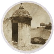 Guard Post Castillo San Felipe Del Morro San Juan Puerto Rico Vintage Round Beach Towel by Shawn O'Brien