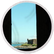 Guard Tower View Castillo San Felipe Del Morro San Juan Puerto Rico Round Beach Towel