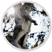 Guardian Angel With Light From Above Round Beach Towel