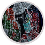 Guardian Knight  Of The Orient Round Beach Towel