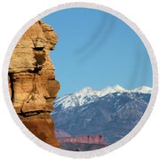 Guardian Of Arches Round Beach Towel
