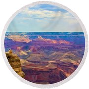 Guardians Of The Canyon Round Beach Towel