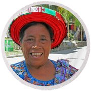 Guatemalan Village Woman Round Beach Towel