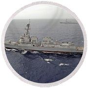 Guided Missile Destroyers Uss Dewey Round Beach Towel