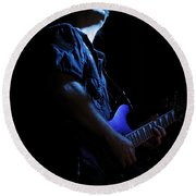 Guitarist In Blue Round Beach Towel