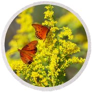 Gulf Fritilaries On Golden Rod Round Beach Towel