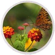 Gulf Fritillary Butterfly On Colorful Lantana  Round Beach Towel