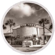 Gulfport Casino In Sepia Round Beach Towel