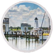 Gulfport Harbor Round Beach Towel
