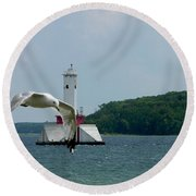 Gull And Lighthouse Round Beach Towel
