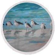 Gulls On Beach Round Beach Towel