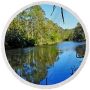 Gums Along The River Round Beach Towel