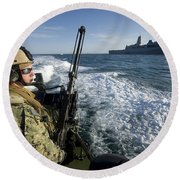 Gunner Mans A .50-caliber Machine Gun Round Beach Towel