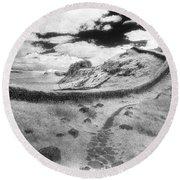 Hadrians Wall Round Beach Towel by Simon Marsden