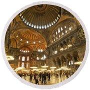 Hagia Sophia In Istanbul Round Beach Towel