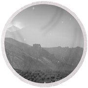 Hail Storm In The Mountains Round Beach Towel
