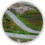 Hairpin Bends In The, Healy Pass, Beara Round Beach Towel