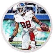 Hakeem Nicks - Sports - Football Round Beach Towel by Paul Ward