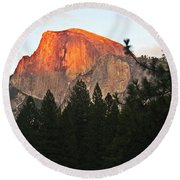 Half Dome Alpenglow Round Beach Towel