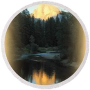Half Dome At Sunset Round Beach Towel