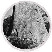 Half Dome Black And White Round Beach Towel