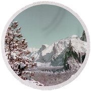 Half Dome In The Snow Round Beach Towel