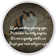 Halloween Calico Cat And Poem Greeting Card Round Beach Towel