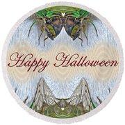 Halloween Fantasmagorical Cicada Card Round Beach Towel