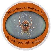 Halloween Greeting Card - Marbled Orb Weaver Spider Round Beach Towel