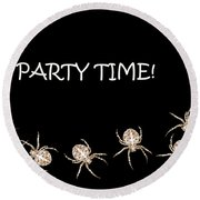 Halloween Greetings. Spider Party Series #01 Round Beach Towel