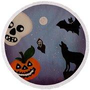 Halloween Night Original Acrylic Painting Placemat Round Beach Towel